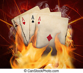 fuego, tarjetas, póker, quemadura