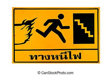 fuego, texto, tailandés, aislado, poste, plano de fondo, escape, blanco, guía