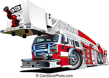 fuego, vector, camión, caricatura