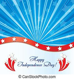 fuegos artificiales, elementos, felicitaciones, plano de fondo, ilustración, estados unidos de américa, vector, bandera