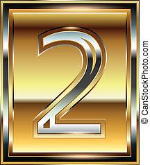fuente, 2, lingote, número, ilustración