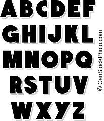 fuente, alfabeto, vector, type., negrita
