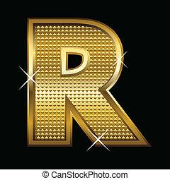 fuente, dorado, carta, tipo, r