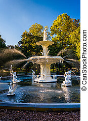 Fuente en el parque forsyth, en Savannah, Georgia.
