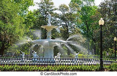Fuente en el parque forsyth