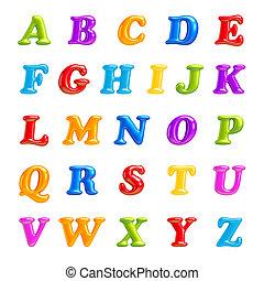 fuente, letters., aislado, collection., 3d, abc, creative., alfabeto