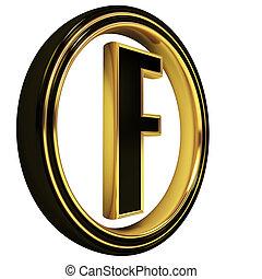 fuente, negro, oro, f de carta