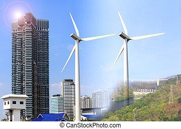 Fuentes de energía alternativas molinos de viento