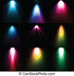 Fuentes de luz coloridas. Vector listo
