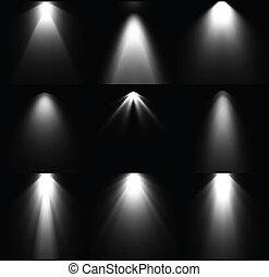 Fuentes de luz en blanco y negro. Vector listo