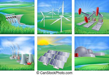 fuentes, energía, potencia