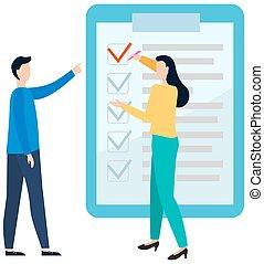 fuera de línea, clipboard., relleno, proyecto, concept., afuera, questionnaire., examen, colegas, dirección, gente