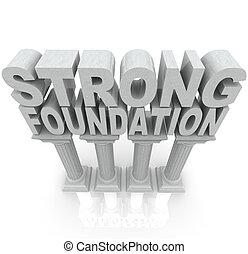 fuerte, fundación, columnas, granito, mármol, palabras