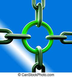 fuerza, cadena, verde, enlace, seguridad, exposiciones