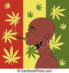 fuma, africano, niña, plano de fondo, cáñamo, leaves.
