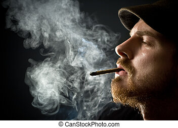 fumar, hombre barbudo