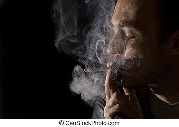fumar, hombre, joven, cigarrillo