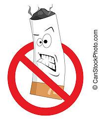 fumar, no, caricatura, señal