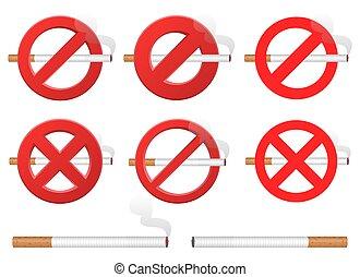 fumar, vector, ilustración, aislado, blanco, señal, diseño, no, plano de fondo