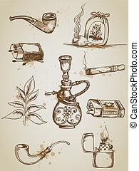 Fumar y fumar iconos