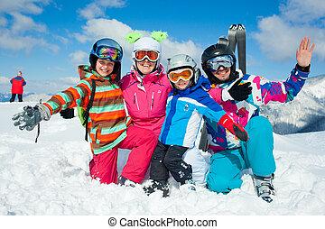 fun., feliz, invierno, familia , esquí