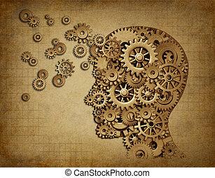 función, cerebro, grunge, engranajes, humano