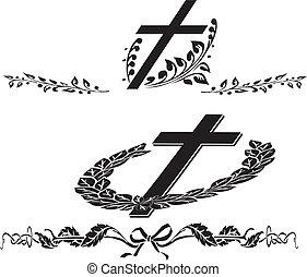 funeral, guirnalda, cruz
