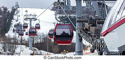 funicular, invierno, esquí