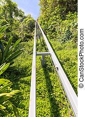 funicular, primero, ferrocarril, arriba