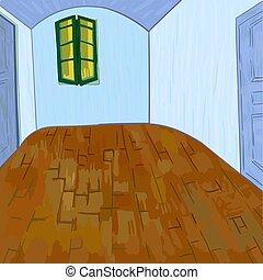 furgoneta, cosas, gogh's, sin, muebles del dormitorio