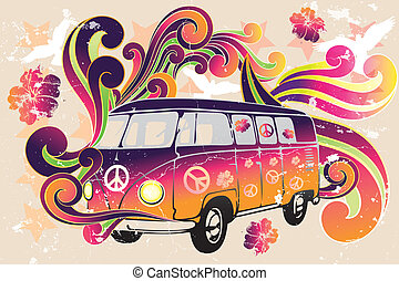 furgoneta, flor, -, retro, potencia