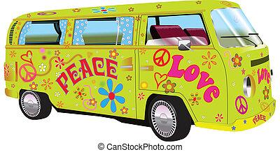 furgoneta, hippy