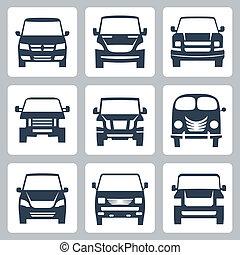 furgonetas, conjunto, (front, iconos, vector, view)
