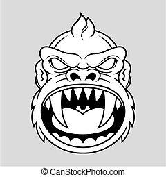 furioso, cabeza, mono
