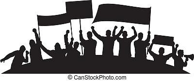 furioso, gente, lotes, protestar