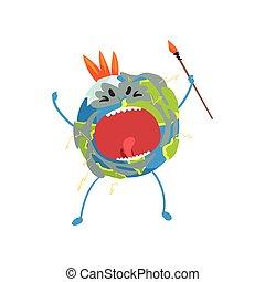 Furioso personaje del planeta Tierra de dibujos animados gritando, divertido vector de emoji vector Ilustración