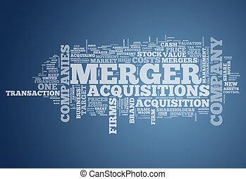 fusión, acquisitions, palabra, nube, y