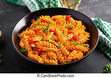fusilli, tomate, dulce, cuisine., pollo, pimienta, sauce., italiano, pastas