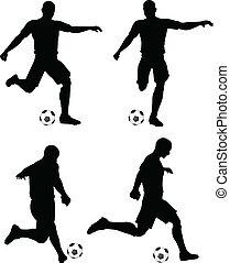 futbol, corra, jugadores, siluetas, huelga, posición, posturas