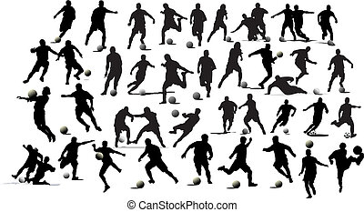 futbol, players., ilustración, vector, negro, blanco, diseñadores