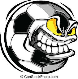 futbol, vector, caricatura, pelota, cara