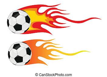 Futbol Vector con llamas