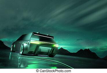 futurista, arriba, adeudo en cuenta, eléctrico, coche verde