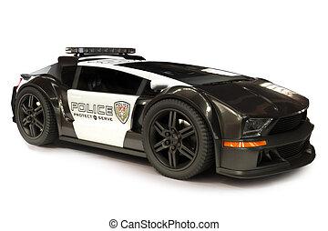 futurista, coche, moderno, policía