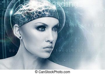 Futuro mujer, retrato abstracto femenino de ciencia ficción para tu diseño