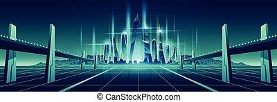Futuro mundo digital vector de metrópolis virtual