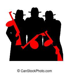 gángsteres, arma de fuego, tommy
