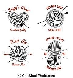 géneros de punto, etiquetas, tejido de punto, logotipo