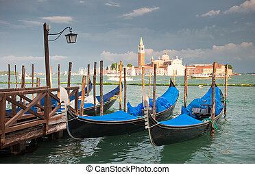 góndolas, magnífico, italia, canal, venecia
