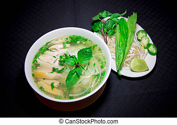 ga, o, arroz, sopa de pollo, cortar, vietnamita, pho, fideo